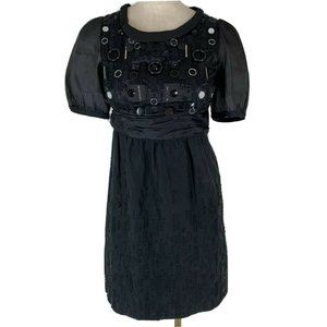 Mint dress black Silk Linen Embellished formal eve